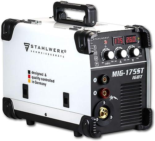 STAHLWERK MIG 175 ST IGBT máquina de soldadura con gas de protección MIG MAG y 175 A, adecuada para FLUX, con MMA sol...