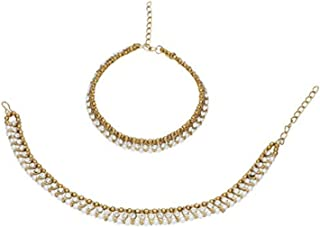 Archi Collection Fashion White Traditional Gold Plated Crystal Pearl Anklets Payal Jewellery for Women