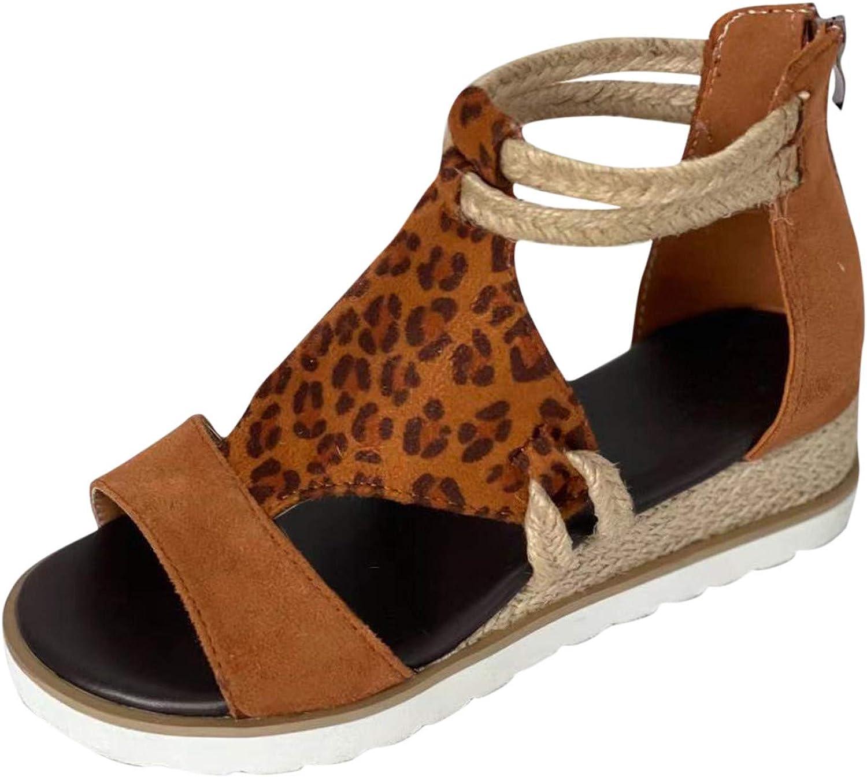 Cap Toe Platform Wedges Sandals for Women, Womens Espadrilles Platform Wedge Sandals Elastic Strappy Mid Heel Sandals