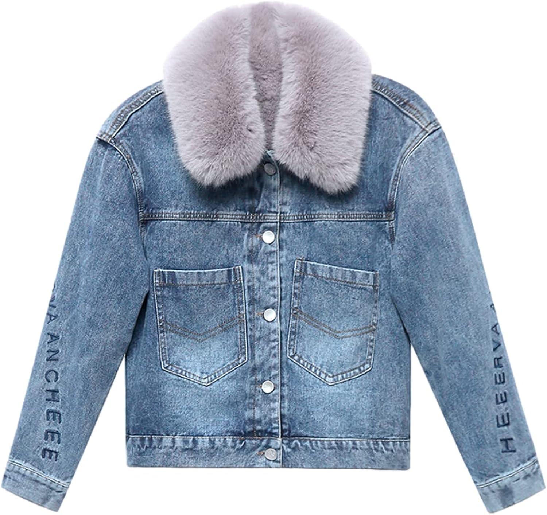 Shiyifa Women's Winter Warm Faux Fleece Denim Jacket Sherpa Lined Thicken Jean Trucker Coats