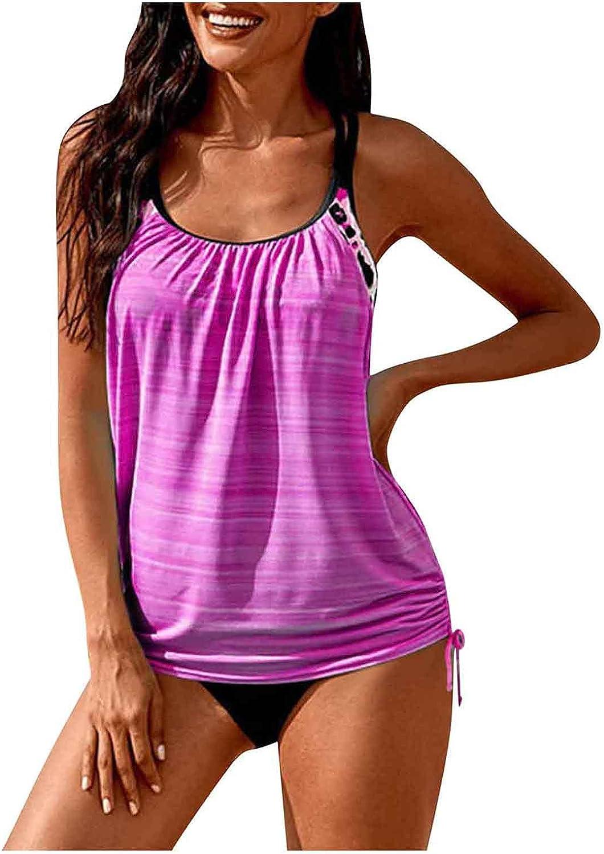 Eduavar Swimsuit for Women Two Piece Tankini Plus Size Tummy Control Swimwear Tank Top with Boyshorts Bathing Suit