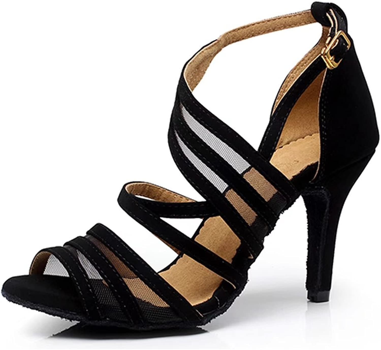 Cdsodance Women's Open Toe Party Fashion Suede and mesh Salsa Tango Ballroom Latin Dance Sandals 3.3  Heel