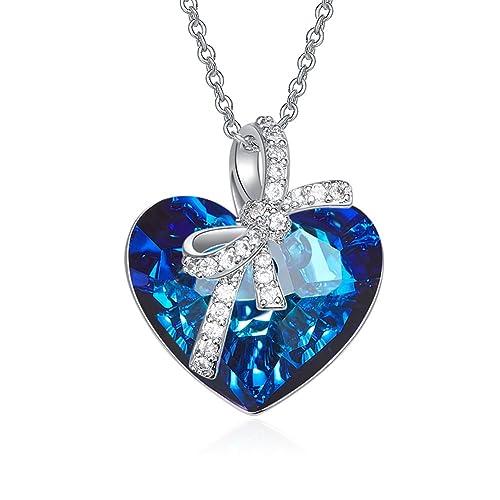 Or blanc plaqué 1//8ct cristal maman Double Collier Coeur