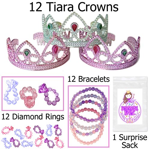 Tiaras, Diamond Rings, Jewel Bracelets & More, Girl's Princess Party Favor Pack (12 Crowns, 12 Rings, 12 Bracelets & More)