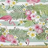 ABAKUHAUS Flamenco Tela por Metro, Hoja hawaiana exótica, Tela Elastizada Estampada para Costura Arte y Bricolaje, 3 Metros, Verde Rosa Blanco
