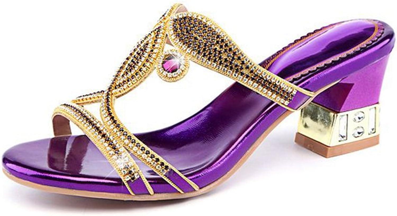 GIY Women's Rhinestone Jewelry Sparkly Heel Slide Sandals Platform Comfort Wedding Party Wedges Dress Pump