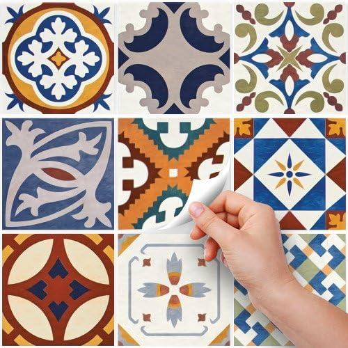 Adesivi per Piastrelle Formato 10x10 cm Confezione 36 Pezzi Made in Italy PS00128 Tenerife Adesivi in PVC per Piastrelle per Bagno e Cucina Stickers Design