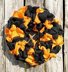 "Hinterland Trading Halloween Wreath Black and Orange Natural Burlap 22"" Fall Decorating"