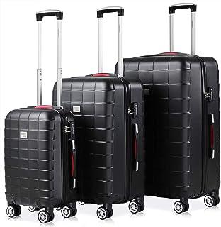 Set de 3 valises rigides Noir 4 Roues 360° Bagage 2 poignées de Transport Plastique ABS Serrure Cadenas à Combinaison Mall...
