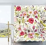 Ao blare Watercolor Blumen Duschvorhang Blumen Rosen Blätter Floral Buds Spring Season Thema Bild Artwork Stoff Badezimmer Dekor-Set mit Haken 182,9x 182,9cm Blume