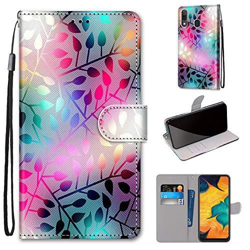 Miagon Flip PU Leder Schutzhülle für Samsung Galaxy A20/30,Bunt Muster Hülle Brieftasche Case Cover Ständer mit Kartenfächer Trageschlaufe,Zweig