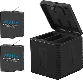 AFAITH Trippel laddare laddningsstation förvaringsfodral + 2 st batterier för Gopro, 3 kanaler multifunktion typ-C laddnin...