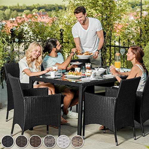 TecTake 800325 – Poly Rattan Sitzgruppe, 6 Stühle mit Sitzkissen, 1 Tisch mit 2 Glasplatten, inkl. Schutzhülle – Diverse Farben – (Schwarz | Nr. 402058) - 3