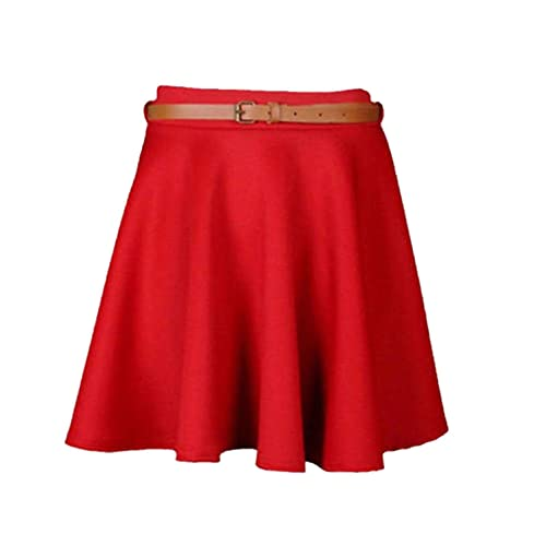 d1f4032871 RIDDLED WITH STYLE Girls Skater Belted Stretch Waist Plain Flippy Flared Jersey  Short Skirt