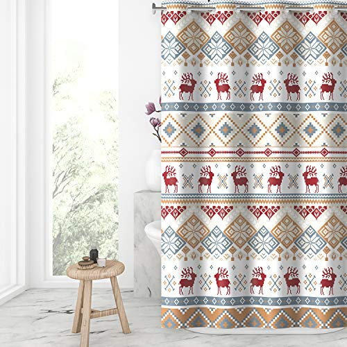 Lagute Christmas Hook Free Fabric Shower Curtain with Snap-in Liner, Water Repellent, Machine Washable, Hotel Grade, Heavy Duty, Winter Festive Bath Curtain, Blue Mosaic Deer, 71Wx74L