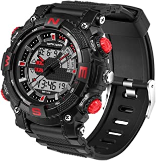 Songlin@yuan  5320 LED Luminous Display and Stopwatch and Alarm & Date and Week Function Men's Quartz + Digital Double Sports Watch with Plastic Strap Fashion (Color : Red)