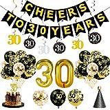 JaosWish 30. Geburtstag Dekoration mit hängenden Luftballons, Happy Birthday Party Banner,Hut, Glitter Cake Topper für Damen und Herren