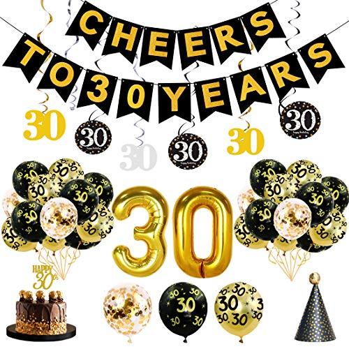 JaosWish Geburtstagsdekoration mit hängenden Luftballons,Party-Banner,Hut,Glitzer-Tortenaufleger,Schwarz-Gold-Thema 1 30-jährige