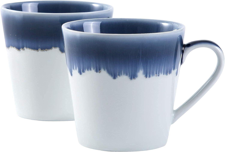 Uaral Coffee Mug Set, Large-Sized 15.5 Ounce Ceramic Mugs Restaurant Coffee Mugs Set of 2(Blue)