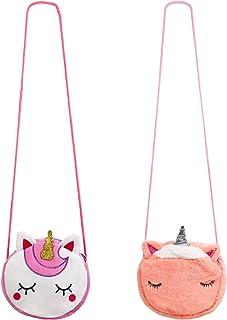 SOTOGO 2 Pieces Little Girl Purses Crossbody Purses Unicorn Purse Cute Princess Handbags Shoulder Messenger Bag