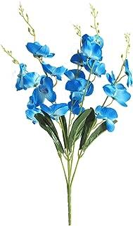 Artfen Artificial Butterfly Orchid Flower Silk Flower Bouquet Artificial Flower Plant for Wedding Home Decoration 24'' High Blue