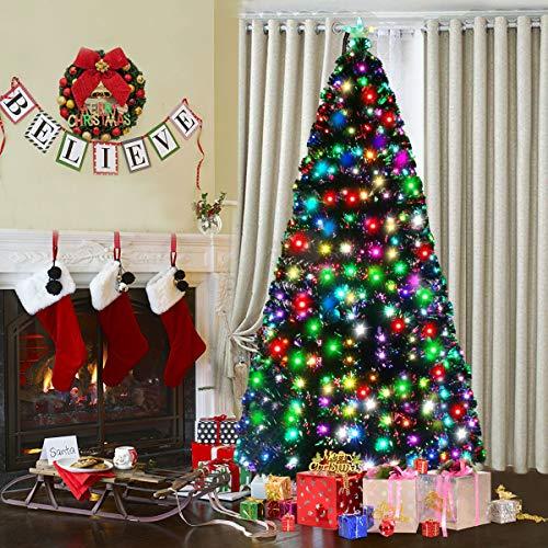 Goplus Pre-Lit Artificial Christmas Tree, Optical Fiber (7ft)