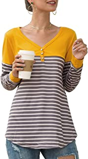 Qearal Women's Long Sleeve V Neck T Shirts Color Block Striped Casual Blouse Tops
