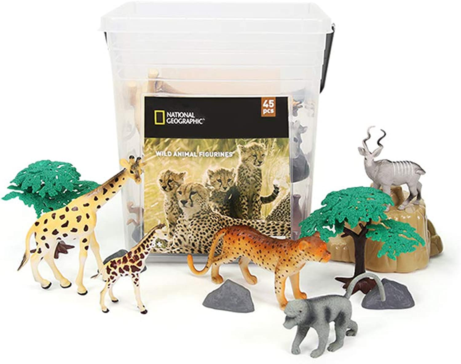National Geographic Wild Animal Figurines in The Serengeti for Kids 45pcs