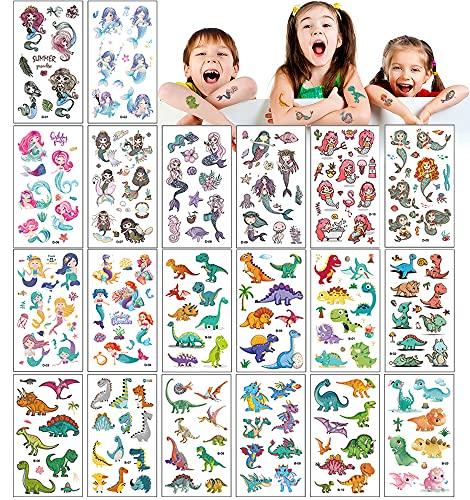 UniBaby7 Tatuajes Temporales para Nios, 20 hojas 200pcs Tema Sirena Dinosaurio Tatoos Infantiles Impermeable Respetuoso Con la Piel, Tatuajes Regalos de CumpleaOs Festivales Suministros Fiestas