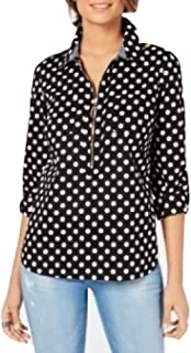 TOMMY HILFIGER Cotton Half-Zip Plaid Popover Black/Ivory Polka Size Small