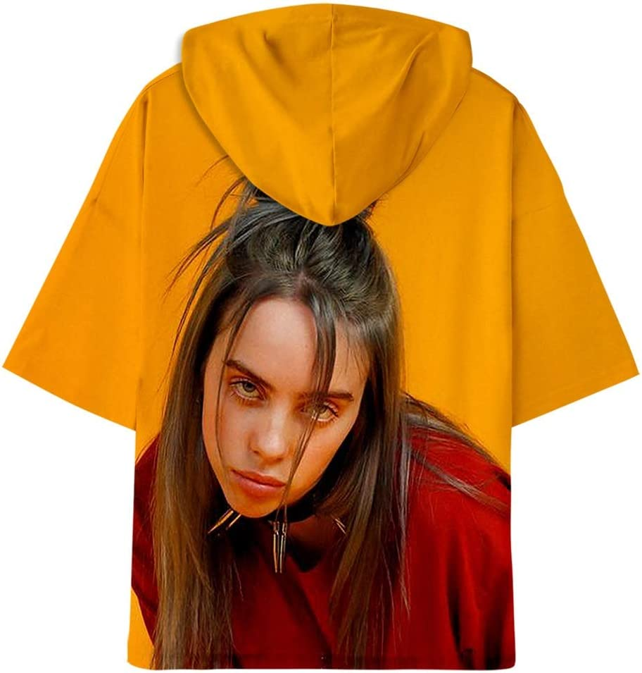 CARPDUT Billie Eilish Tapas de Las Mujeres Adolescente Ocasional ni/ñas Holgada de Manga Corta con Capucha Camisetas s/ólidas Blusa Superior Camisas