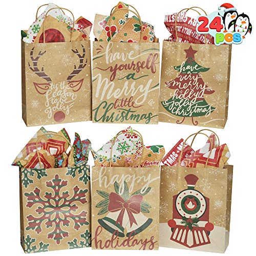 24 PCS Kraft Christmas Gift Bag, Paper Gift Bags with Large Christmas Characters for Xmas Party
