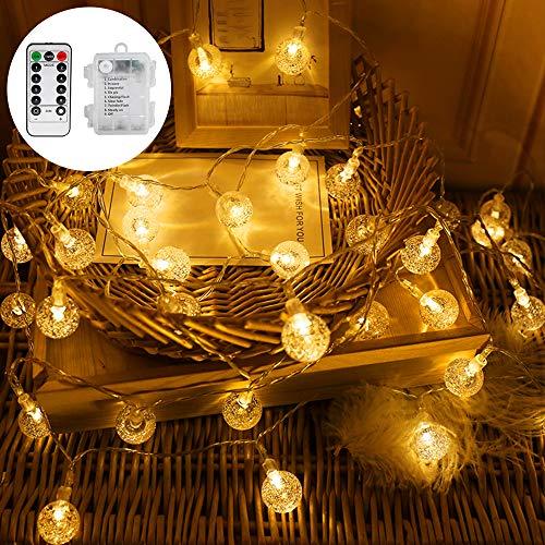 Vegena LED Lichterkette Aussen Kristall Kugeln, Batteriebetrieben 40er LED 6 M 8 Modi Mit Fernbedienung für Garten,Weihnachten, Bäume, Terrasse, Hochzeiten, Partys Innen und auße