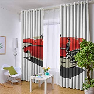 W85 x L97 Inch Cars Decor Collection Solid Grommet Thermal Blackout Curtains Old-Fashioned Authentic Fancy Car with An Open Roof Top Past Times Transportation Decor Grommet Curtain Panels for Bedroom