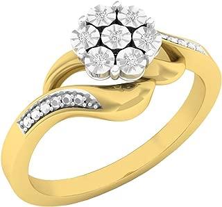 0.05 Carat (ctw) 10K Gold Round White Diamond Ladies Cluster Flower Fashion Right Hand Ring