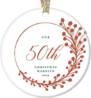 "50th Anniversary Christmas Ornament 2019 Fifty 50 Years Married Gift Dated Keepsake Present Fiftieth Parents Grandparents Pretty Farmhouse Red Tree Decoration Glossy Ceramic 3"" Flat Circle Gold Ribbon"