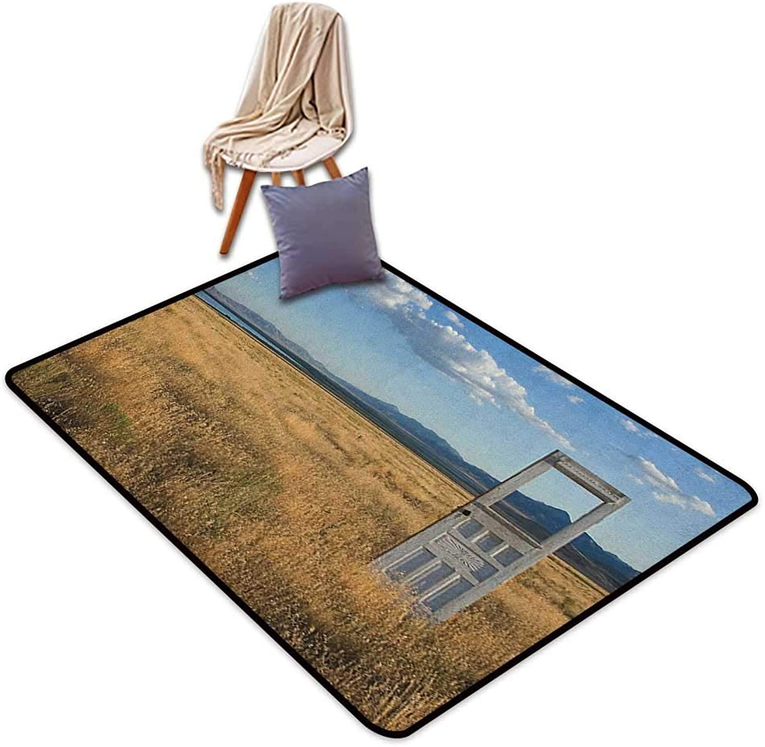 Interior Door Rug Bathroom Rug Slip Antique Old Door Standing Alone in Field with Mountains Summer Sky Surreal Door Rug for Internal Anti-Slip Rug W5'xL7'