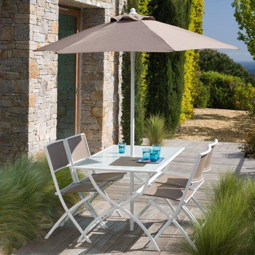 Générique Salon de jardin taupe avec parasol offert