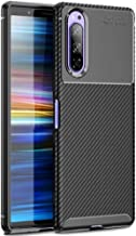 FINON Carbon Design Model [ TPU ] for Sony Xperia 5 (2019) Case - Fingerprint Prevention Function and Lightweight Soft case, Shock Resistance, Easy desorption, Stylish Design - Black