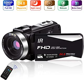 Video Camera Vlogging Camera Camcorder Full HD 1080P 30FPS 24.0 MP IR Night Vision YouTube Camera Supports Time Lapse & Motion Detection Vlog Camera with 3