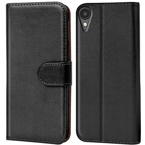 Verco Desire 825 Hülle, Handyhülle für HTC Desire 825 Tasche PU Leder Flip Case Brieftasche - Schwarz
