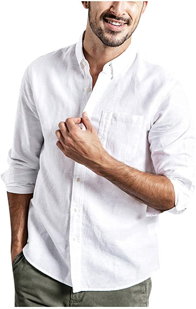 Linen Shirts for Men Forthery Summer Button-Down Casual Long Sleeve Collar Top Cool Tees