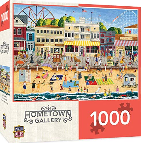MasterPieces Hometown Gallery Jigsaw Puzzle, On The Boardwalk, Featuring Art by Linda Nelson Stocks, 1000Piece, Assorted -  Masterpieces Puzzle Co., 71627