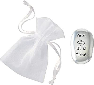 CVN ~ Thumb Stone ~ One Day at a Time ~ with Organza Drawstring Pouch ~ Inspirational Gift - Soothing Worry Stones/Friend Family -Affirmation - AA