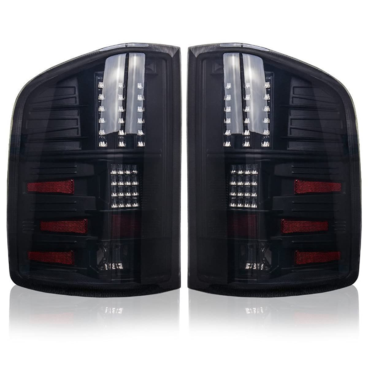 LED Taillights Tail Lamps for Chevy Silverado 1500 2008-2013 Silverado 2500 & 3500 2008-2014 (Fit 2007 New Body Style), for GMC Sierra 3500 HD 2007-2014 (Dual Rear Wheel ONLY) Black Smoke