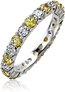 Alternating Color Cubic Zirconia Stackable CZ Eternity Ring For Women 925 Sterling Silver 12 Birth Month Colors