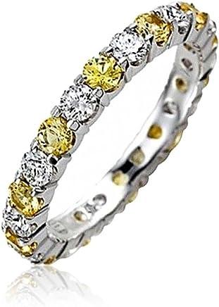Bling Jewelry 贝灵珠宝 仿黄宝石色和透明锆石 可叠戴永恒戒指 925纯银 纽约直邮 【亚马逊海外卖家】