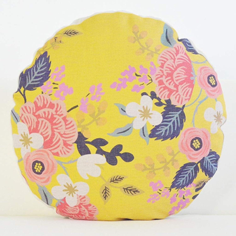 Pillow Cotton and Linen Round Pillow Office Literary Cushion Fabric Sofa Pillow Flower Pillow QYSZYG (color   A)