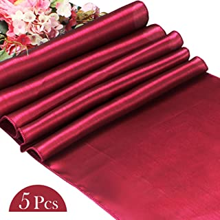 YISSION 5 Pack Satin Table Runner for Wedding, 12 x 108 Inch Soft Burgundy Table Runner Elegant Event Decor Banquet Parties Celebrations Table Decoration