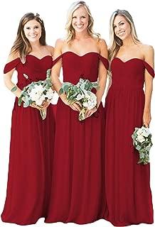 Dymaisei Women's Off Shoulder A-Line Long Bridesmaid Dress Chiffon Wedding Evening Dress